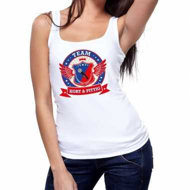 Goedkoop toppers wit kort pittig team tanktop / mouwloos shirt dames