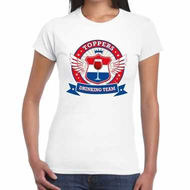 Goedkoop toppers wit toppers drinking team t shirt dames carnavalskle