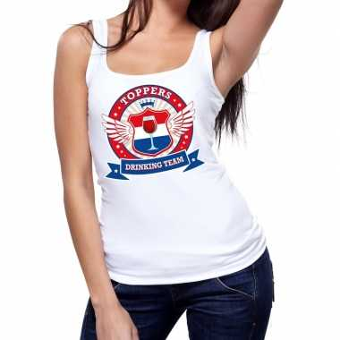 Goedkoop toppers wit toppers drinking team tanktop / mouwloos shirt d