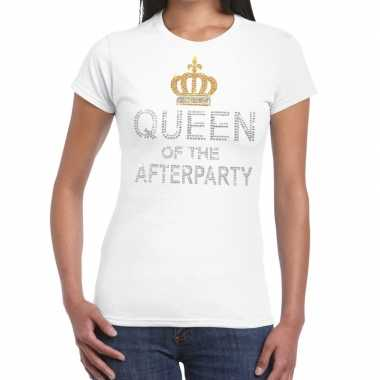 Goedkoop toppers wit toppers queen of the afterparty glitter t shirt