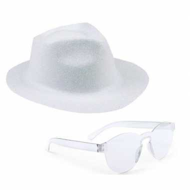 Goedkoop toppers wit trilby glitter party hoedje transparante zonnebr