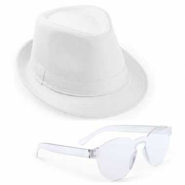Goedkoop toppers wit trilby party hoedje transparante zonnebril carna