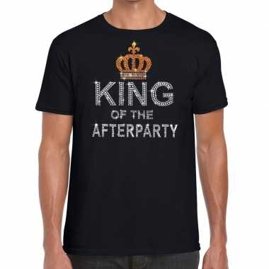 Goedkoop toppers zwart toppers king of the afterparty glitter t shirt