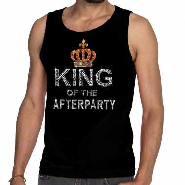 Goedkoop toppers zwart toppers king of the afterparty glitter tanktop