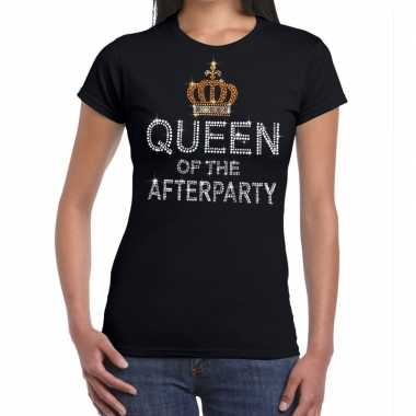 Goedkoop toppers zwart toppers queen of the afterparty glitter t shir