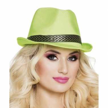 Goedkoop trilby hoed lime groen volwassenen carnavalskleding