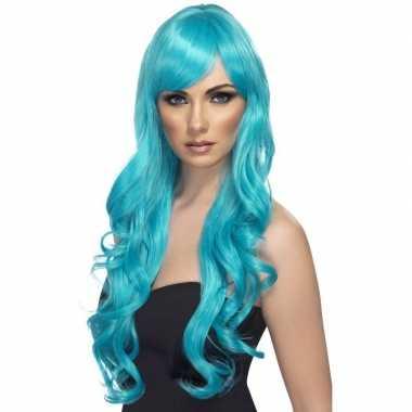 Goedkoop turquoise blauwe pruik dames carnavalskleding
