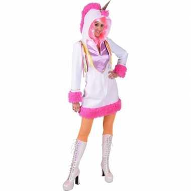 Goedkoop unicorn verkleedjurk wit dames carnavalskleding