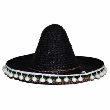 Goedkoop verkleed accessoire zwarte sombrero kids carnavalskleding