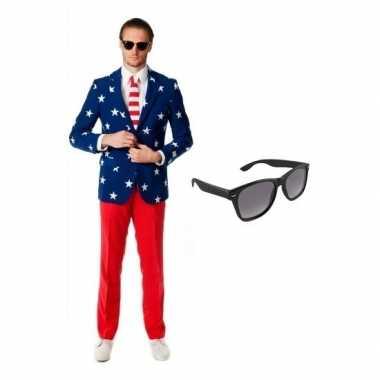Goedkoop verkleed amerikaanse vlag print heren carnavalskleding maat