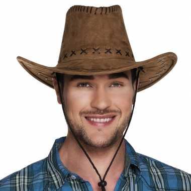 Goedkoop verkleed cowboyhoeden elroy bruin lederlook carnavalskleding