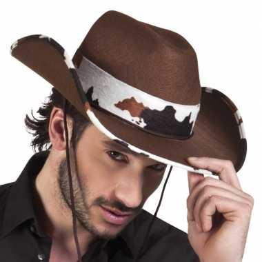 Goedkoop verkleed cowboyhoeden texas koeienprint carnavalskleding