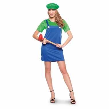 Goedkoop verkleed groene loodgieter jurk dames carnavalskleding