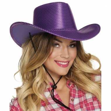 Goedkoop verkleed grote cowboyhoeden paars pailletten carnavalskleding