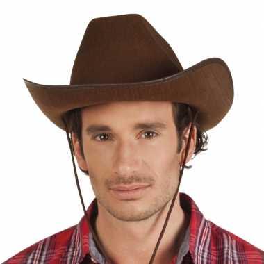 Goedkoop verkleed grote cowboyhoeden rodeo bruin lederlook carnavalsk