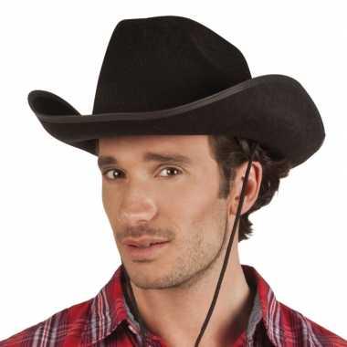 Goedkoop verkleed grote cowboyhoeden rodeo zwart lederlook carnavalsk