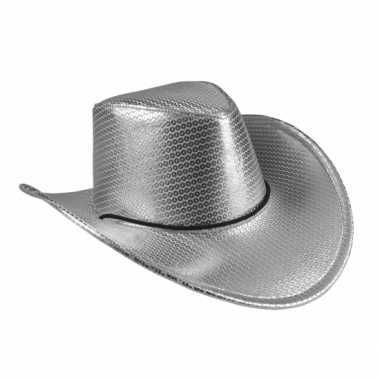 Goedkoop verkleed grote cowboyhoeden zilver pailletten carnavalskledi