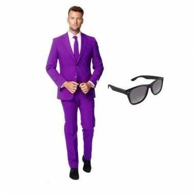 Goedkoop verkleed paars net heren carnavalskleding maat (l) gratis zo