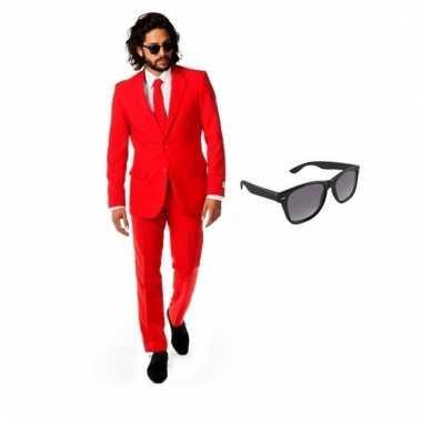 Goedkoop verkleed rood net heren carnavalskleding maat (l) gratis zon