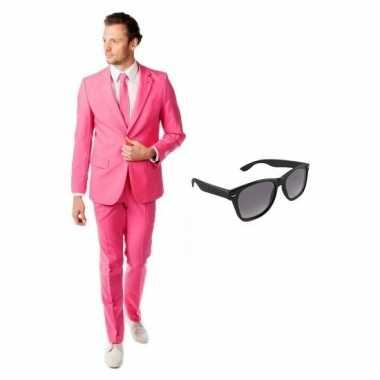 Goedkoop verkleed roze net heren carnavalskleding maat (l) gratis zon