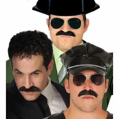 Goedkoop verkleed snor zwart pablo escobar carnavalskleding