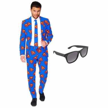 Goedkoop verkleed superman net heren carnavalskleding maat (xxl) grat