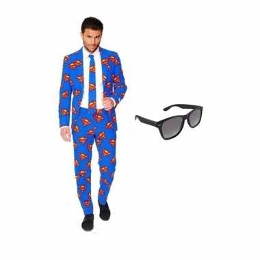 Goedkoop verkleed superman print heren carnavalskleding maat (xl) gra