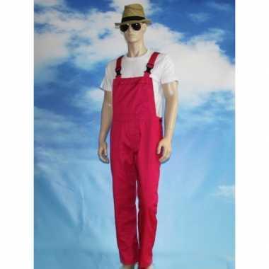 Goedkoop verkleed tuinbroek fuchsia volwassenen carnavalskleding