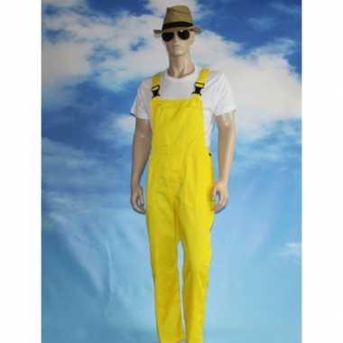 Goedkoop verkleed tuinbroek geel volwassenen carnavalskleding