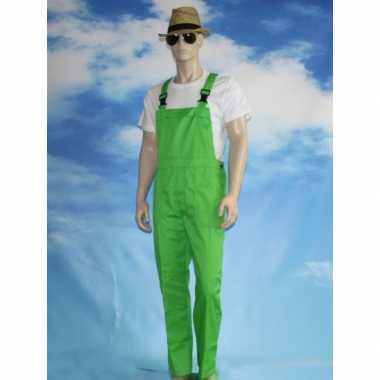 Goedkoop verkleed tuinbroek groen volwassenen carnavalskleding
