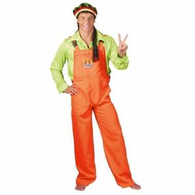 Goedkoop verkleed tuinbroek neon oranje volwassenen carnavalskleding
