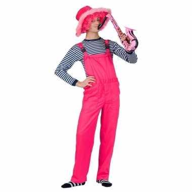 Goedkoop verkleed tuinbroek neon roze volwassenen carnavalskleding