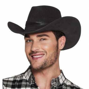 Goedkoop verkleed ;uxe cowboyhoeden wyoming bruin lederlook carnavals
