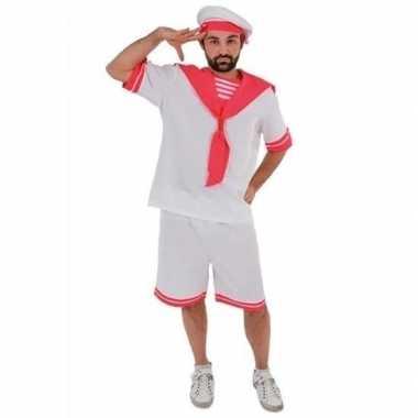 Goedkoop verkleed wit/roze matrozen carnavalskleding volwassenen gay