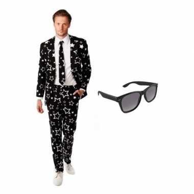 Goedkoop verkleed zwart sterren print heren carnavalskleding maat (l)