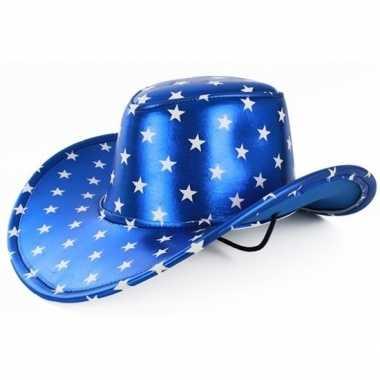 Goedkoop verkleedaccessoires blauwe cowboyhoed sterren carnavalskledi