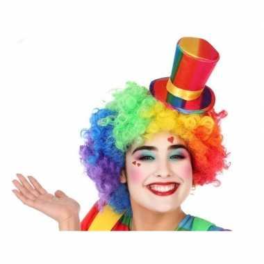 Goedkoop verkleedaccessoires mini hoge hoed clown volwassenen carnava