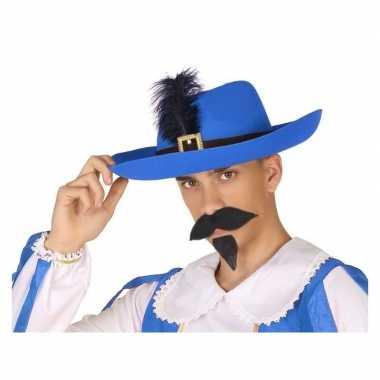 Goedkoop verkleedaccessoires musketiershoed blauw heren carnavalskled