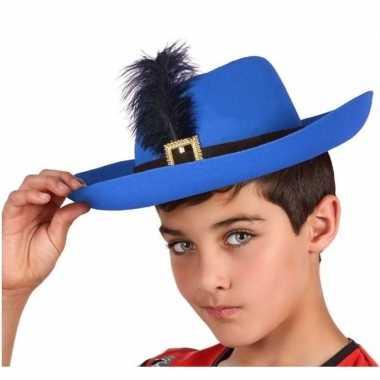 Goedkoop verkleedaccessoires musketiershoed blauw kinderen carnavalsk