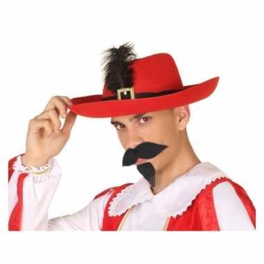 Goedkoop verkleedaccessoires musketiershoed rood heren carnavalskledi