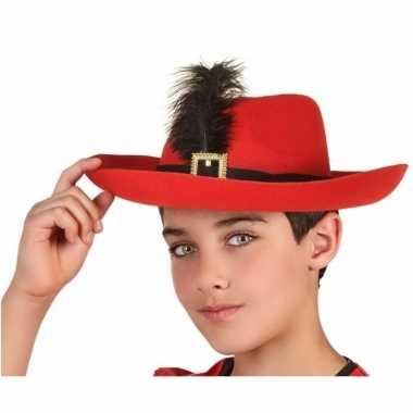 Goedkoop verkleedaccessoires musketiershoed rood kinderen carnavalskl