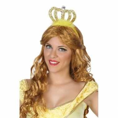 Goedkoop verkleedaccessoires prinsessen diadeem goud dames carnavalsk
