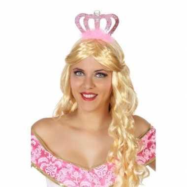 Goedkoop verkleedaccessoires prinsessen diadeem roze dames carnavalsk