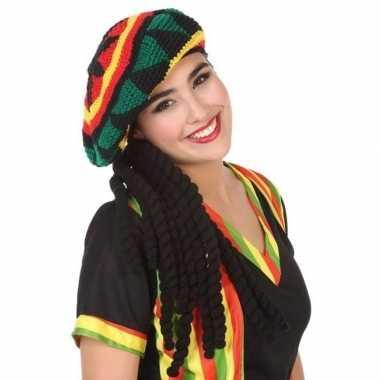 Goedkoop verkleedaccessoires reggae/rasta muts dreadlocks volwassenen