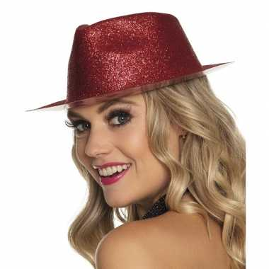 Goedkoop verkleedaccessoires rode trilby hoed glitters carnavalskledi