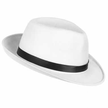 Goedkoop verkleedaccessoires witte maffia hoed carnavalskleding