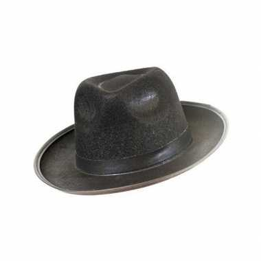 Goedkoop vilten blues hoed zwart carnavalskleding