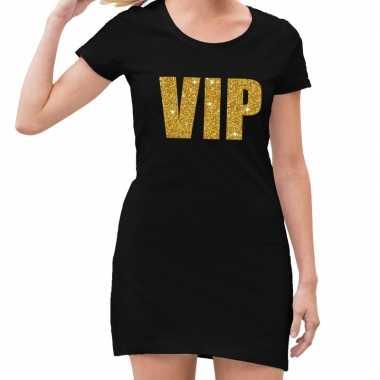 Goedkoop vip tekst jurkje zwart gouden glitter letters dames carnavalskleding