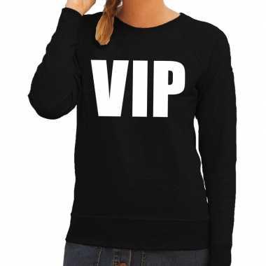 Goedkoop vip tekst sweater / trui zwart dames carnavalskleding