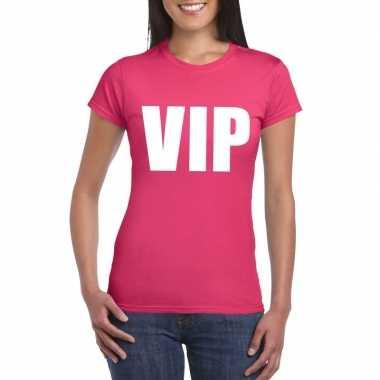 Goedkoop vip tekst t shirt roze dames carnavalskleding